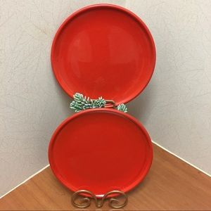Other - Speckled Red Stoneware Curved Rim Dinner Plates
